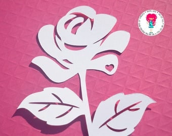 Rose paper cut svg / dxf / eps / files and pdf / png printable templates for hand cutting. Digital download. Commercial use ok