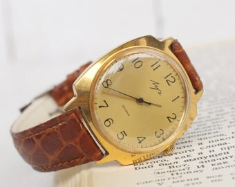 Gold Plated Vintage Mens Watch Russian watches retro Luch Soviet watch Hipster Watch Mechanical watch Watch for men Gift for him