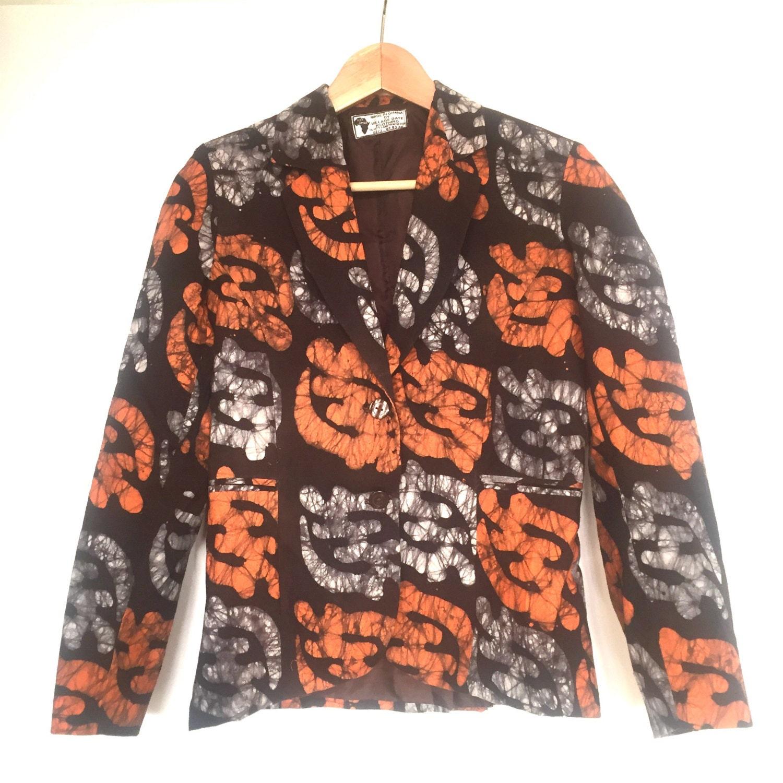 M. Batik Blazer Jacket West African Pattern. 100% Cotton. Made