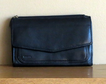 Fossil Clutch Wallet In Black Leather With Smart Phone Pouch- VGC