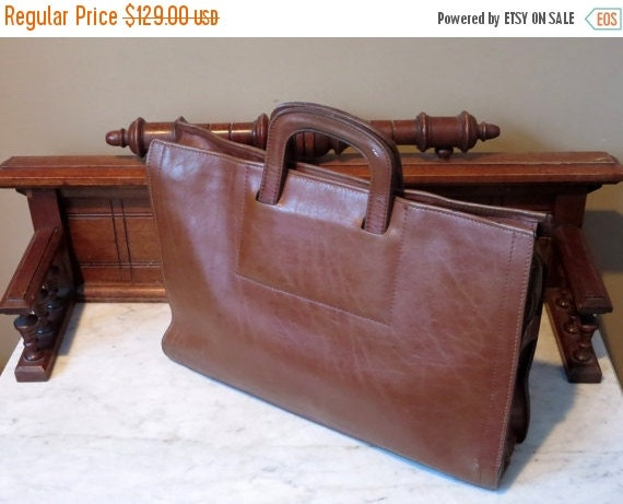 Football Days Sale Renwick Brown Bull Hide Leather Double Gusset Briefcase Attache -Very Nice