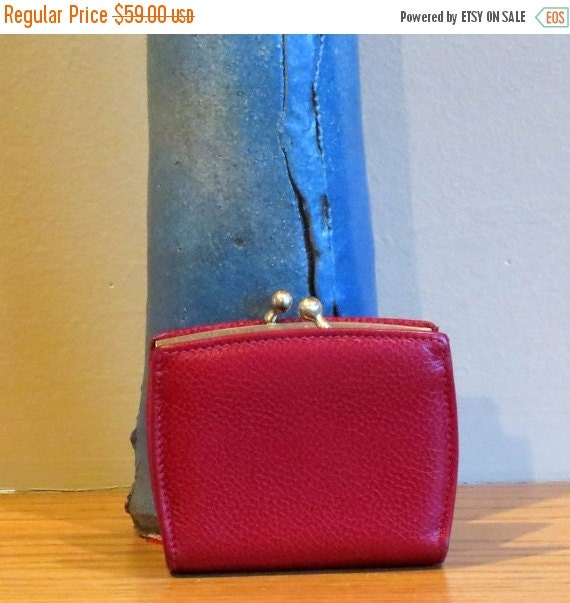 Football Days Sale Stocking Stuffer Coach Madison Coin Purse Red Leather With Brass Kisslock Closure Style No 4476 Made In Italy - VGC