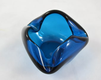 Vintage Blue Hand Blown Ashtray, Glass Free Form Deep Blue Ashtray