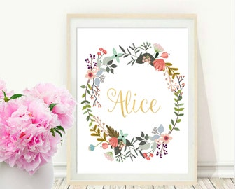 Custom Name, Custom Name Print, Nursery Art, Custom Printable, Personalized Print, Digital download, Gold print