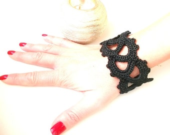 Black lace bracelet, black crochet bracelet, Crochet cuff, Cotton wristband, Textile bracelet, statement bracelet