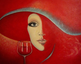 Woman in red, canvas painting, oil painting on canvas. Artist Diliara Manadeeva.