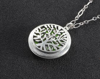 Sliver Tree of life Pendant Necklace,Silver Tree Pendant Charms Aromatherapy Essential Oil Diffuser Locket Necklace Women Gift For Her Gift