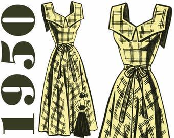 """1950 Sundress Pattern Full Skirt Dress MAIL ORDER 9322 bust 34"""" FF Marian Martin Pattern Rockabilly Dress Summer Dress 1950s Dress Pattern"""