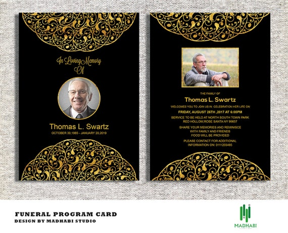 funeral invitation or announcement card 5x7 funeral card