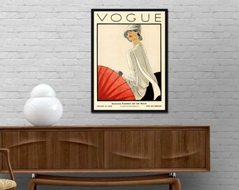 Vogue 1928 cover print Vintage poster Vogue magazine print Retro journal wall art Modern Girl room design decor Best price canvas art