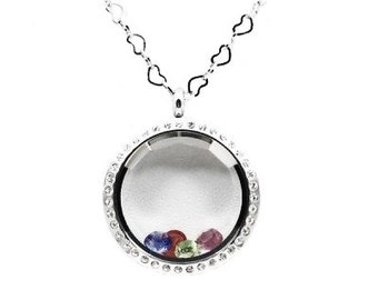 30mm Stainless Steel Twist Floating Locket W/Crystal Prism Face  Comes W/Sterling Silver Chain.  Choose 5 free charms