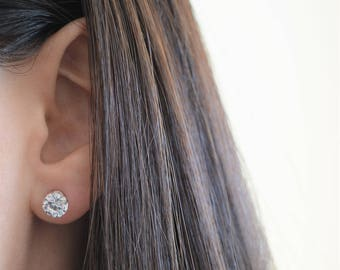 Diamond Cz Stud Earrings. Round Premium Grade Cz Studs. Sterling Silver 6mm Cz Stud Earrings.