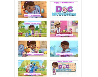 8 PERSONALIZED Doc McStuffins Stickers, Birthday Party Favors, Labels, Custom made
