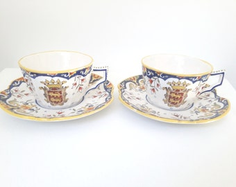 """set of 2 vintage french ceramic cups and saucers, from Normandy, France """"La Délivrande"""" - Rouen ceramic style"""