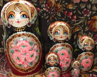 Russian matryoshka doll nesting babushka beauty girl Rose handmade