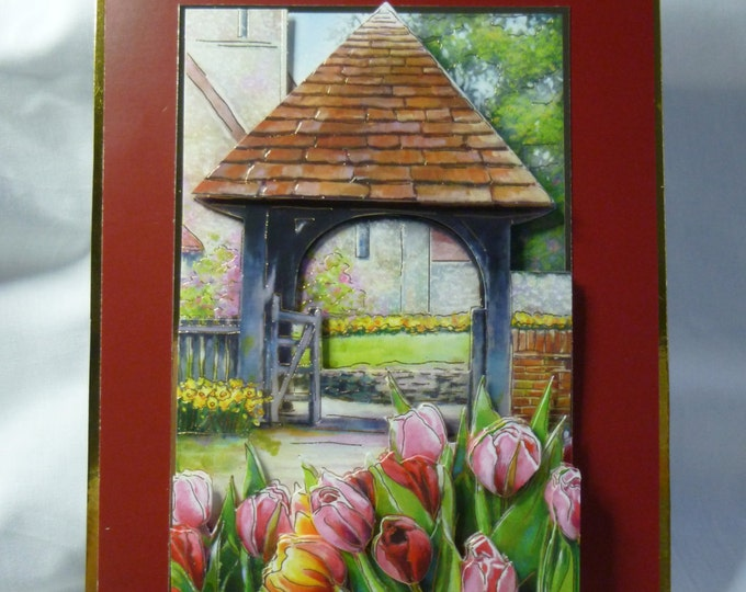 Easter Card, Greeting Card, 3D decoupage, Spring Flowers, Church Entrance, Male or Female, Any Age,