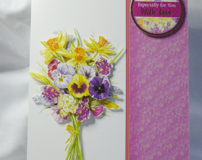 Floral Spring Flowers, Birthday Card, Greeting Card, 3D decoupage, Female, Any Age, Mother, Daughter, Sister, Niece, Aunt, Friend