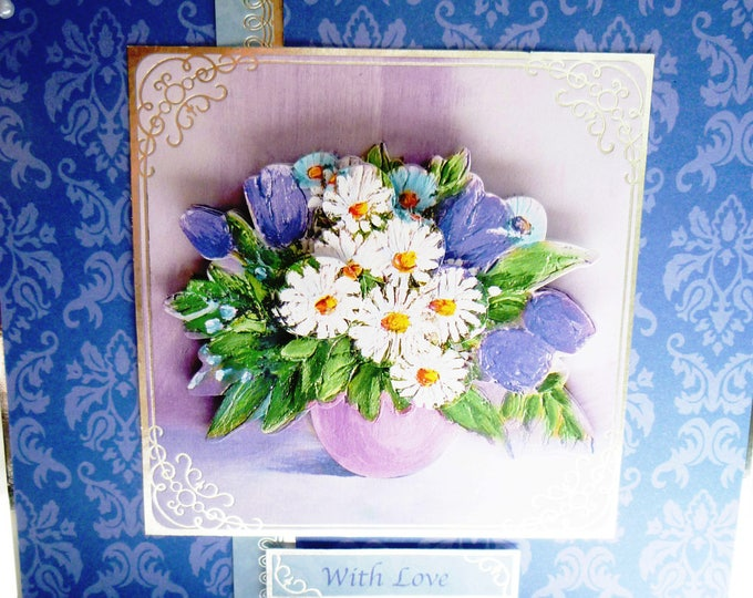 Floral 3D Decoupage Card, Birthday Card, Greeting Card, Blue and White Flowers, Female, Any Age, Mum, Sister, Daughter, Niece, Aunt, Friend