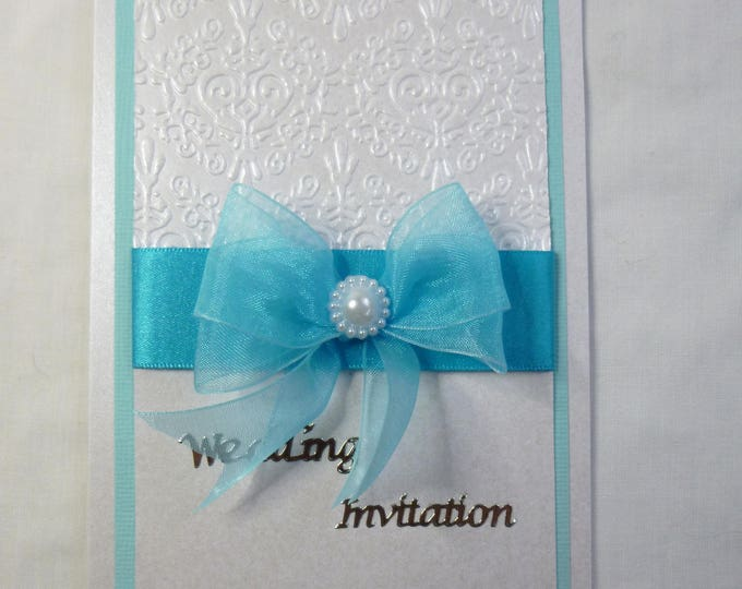 Wedding Day Invitation, White and Turquoise, Different Colours are Available, Pkt of 10