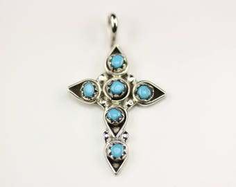 Native American Indian Jewelry Handmade Zuni Sterling Silver Turquoise Cross Pendant