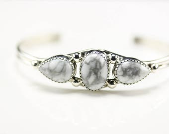 Navajo Indian Jewelry Handmade Sterling Silver Howlite Cuff Bracelet
