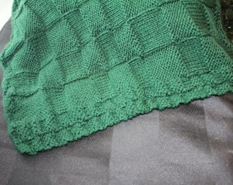 Forest Green Basket Weave Baby Blanket