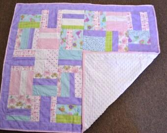 Flannel Baby Quilt, Flannel Crib Quilt, Girl Baby Quilt, Baby Shower Gift, Baby Girl Quilt, Baby Girl Bedding, Girl Bedding, Baby Bedding