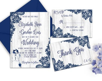Rustic Wedding Invitation Printable Navy Blue Wedding Invitation Lace Wedding Invite  Romantic  Wedding Elegant Wedding Invitation