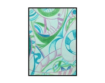 Abstract ACEO original art card pencil drawing - Natural in Green Blue Purple ATC