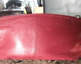 Wilson's leather purse pouch zippered top red