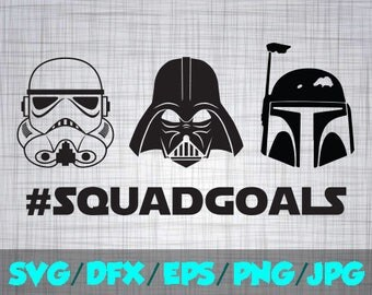 Star Wars SVG Iron On Decal Cutting File / Clipart in Svg, Eps, Dxf, Png, and Jpeg for Cricut and Silhouette Starwards Squadgoals Squad