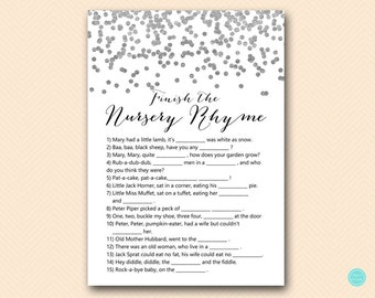 Silver Baby Shower Games, Nursery Rhyme Baby Shower, Nursery rhyme game, Nursery rhyme quiz,  Nursery Rhyme Baby Shower Games, TLC149