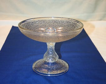 Rare Antique EAPG Clear Glass Flower Centerpiece Candle Bowl compote candle dish