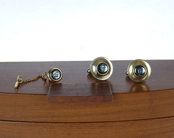 Vintage CUFFLINKS and TiE TaCK set - Safety Chain - Vintage Jewelry