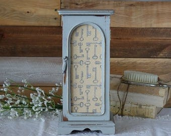 Jewelry Box - Shabby Chic - Jewelry Armoire - Grey - Hand Painted - Decoupage - Upcycled - Distressed - Jewelry Storage - Mom Gift