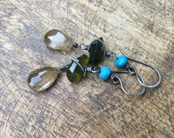 Rutilated Quartz, Turquoise and Vesuvianite stone a127.  wire wrapped . rustic jewelry . artisan handmade .  fine jewelry . gemstones long