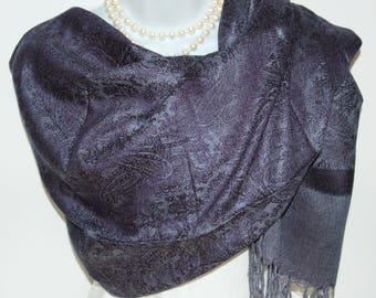 Blue Pashmina Scarf.Blue Denim Pashmina/Shawl.Spring/Summer Scarves. Silk/Pashmina Scarves.Navy Evening Wrap /Shawl.Wedding Shawl/Wrap