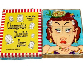 Vintage Blocks Changeable Charlie's Aunt Blocks, Changeable Charlie Wood Puzzle, Mid Century Toy Collectible 1952 Toys & Games Wood Puzzle