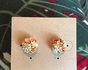Flower Watercolor Earrings in Peach/Orange