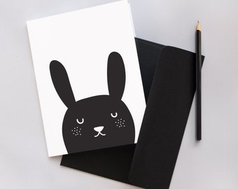 Monochrome Bunny Greeting Card