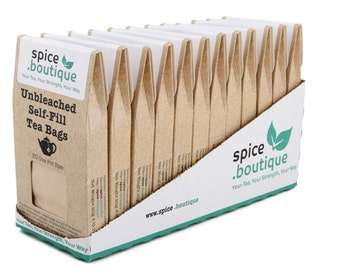 spice.boutique - Retail Carton of 12 Boxes UNBLEACHED Self Fill Empty Teabags (600), ONE POT Size,