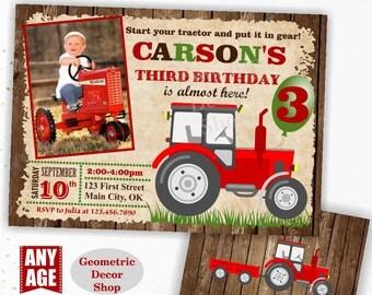 Tractor Birthday Invite, Tractor Invitation Tractor Invitations Woodland Rustic Wood Invite Digital File Red Boy Girl Photo Photograph BDT15