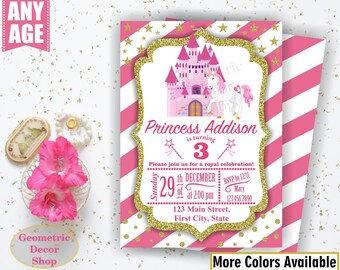 Unicorn Birthday Invitation / Princess Invitations / Purple Invitations Girl Pink Invites Magical Silver Castle Gray Photo Photograph BDU23