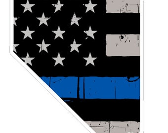 Nevada State (V29) Thin Blue Line Vinyl Decal Sticker Car/Truck Laptop/Netbook Window