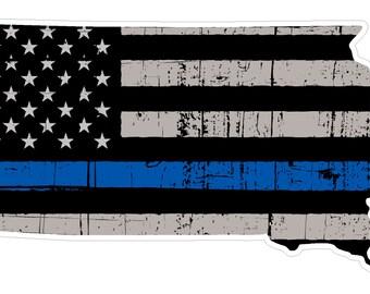 South Dakota State (V42) Thin Blue Line Vinyl Decal Sticker Car/Truck Laptop/Netbook Window