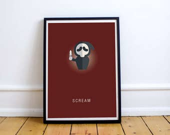 FREE SHIPPING** Scream -  Movie Poster, Horror Movie, Poster, Movie, Scream Poster, Movie Poster, Scream Movie, Horror Poster, Minimalist