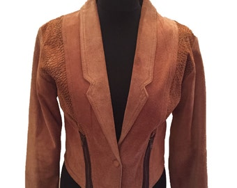90s Tan Suede Leather Jacket