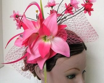 Hot Pink Flower Birdcage Bow Kentucky Derby Fascinator Hairpiece Headpiece
