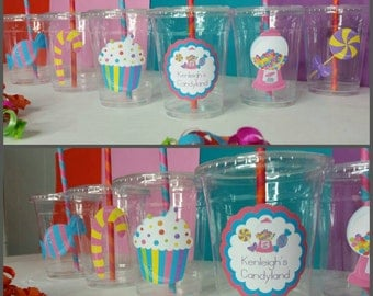 12 Candyland Inspired Party Cups with Striped Straws and Lids!, Candy Party Cups