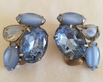 Vintage Blue Glass Earrings, vintage jewelry, vintage clipon earrings, vintage multi glass earrings, vintage blue earrings,clipon earrings,
